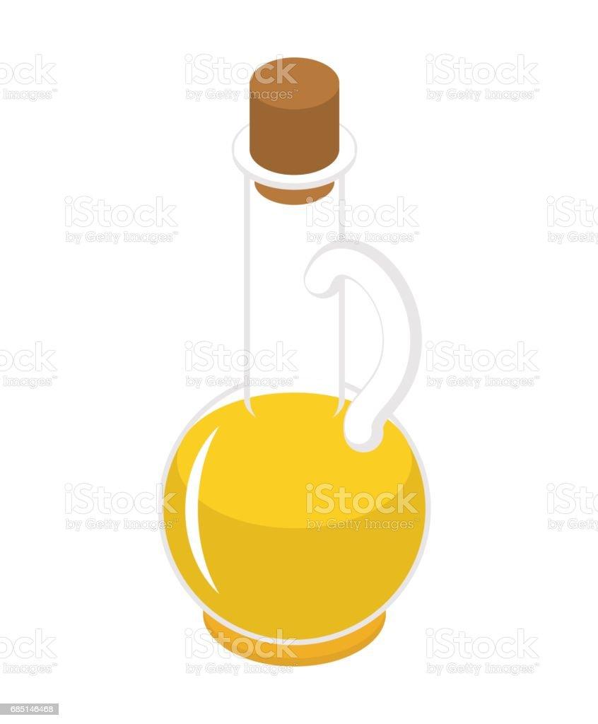 Olive oil bottle isometry isolated on white background. Glass jar vector art illustration