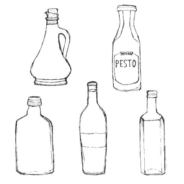 olivenölflasche, pesto-dressing-flasche, nach hause weinflasche. - dressing stock-grafiken, -clipart, -cartoons und -symbole