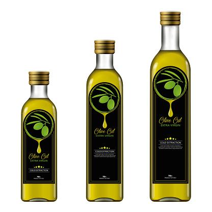 Olive Oil Bottle With Label, Mockup