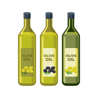 Olive oil bottles set in flat design vector illustrations isolated on white background. Olive oil icon.