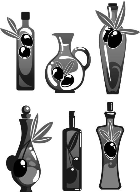 olivenöl-flaschen vektor isoliert icons set - dressing stock-grafiken, -clipart, -cartoons und -symbole
