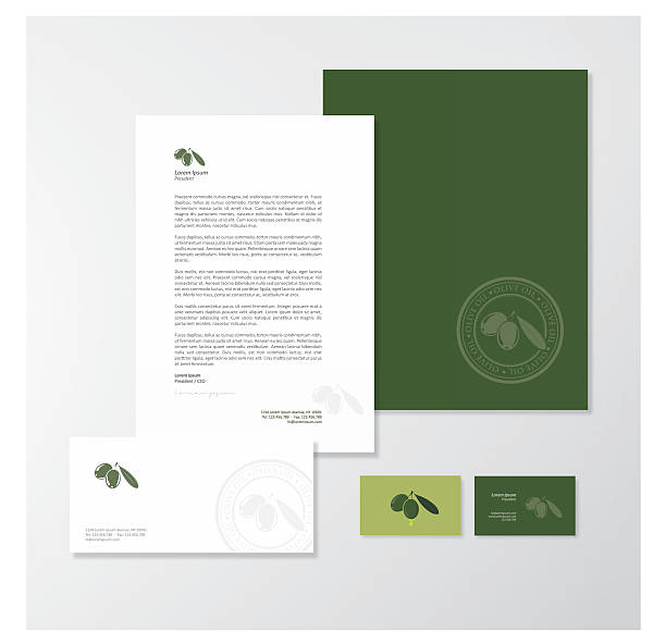 olive oil company branding design - stationery templates stock illustrations