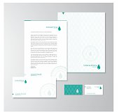 Stationery design for an olive oil company. Letterhead, folder, envelope and business card with logo. All design elements are layered and grouped. Eps10, contains transparent objects.