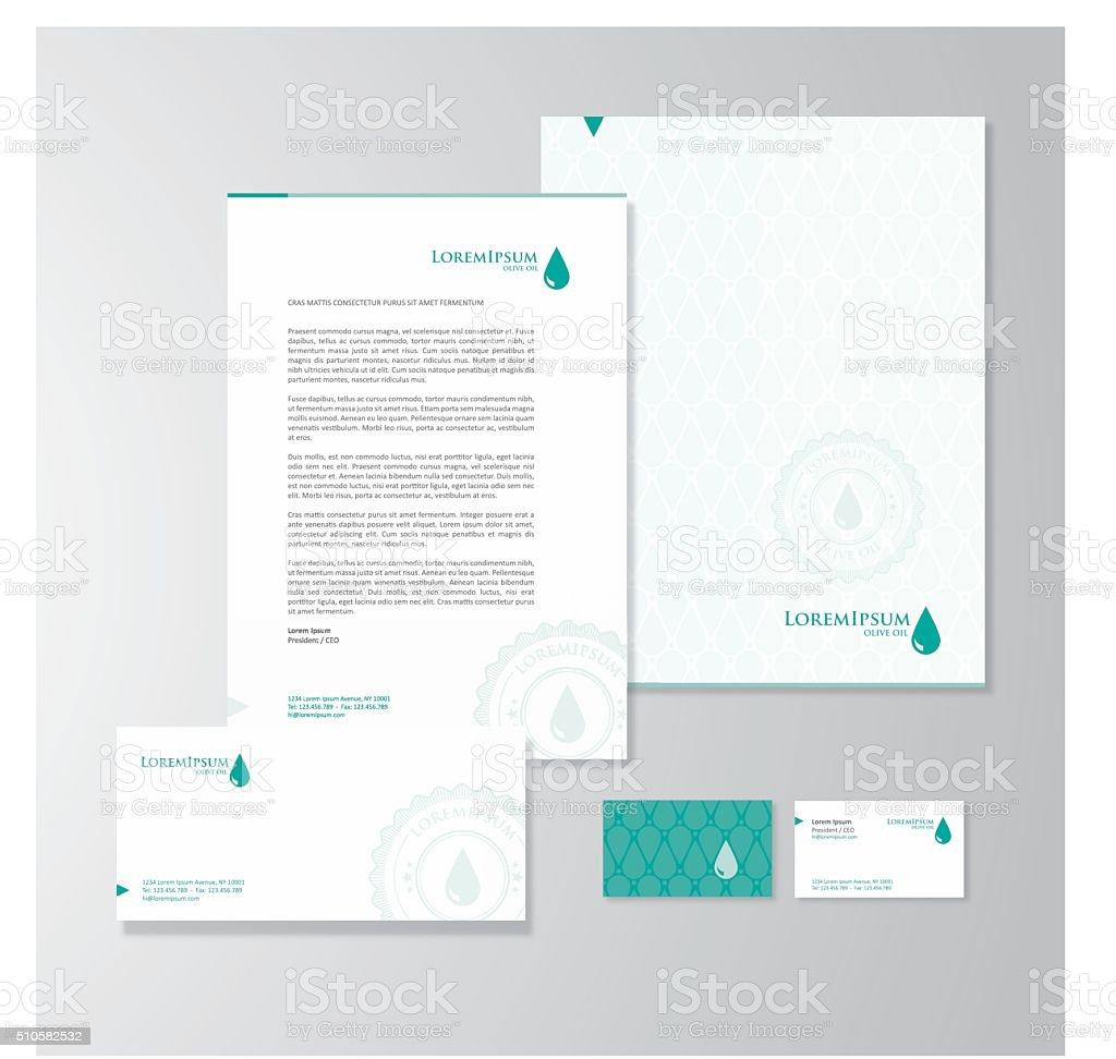 Olive oil company stationery design vector art illustration
