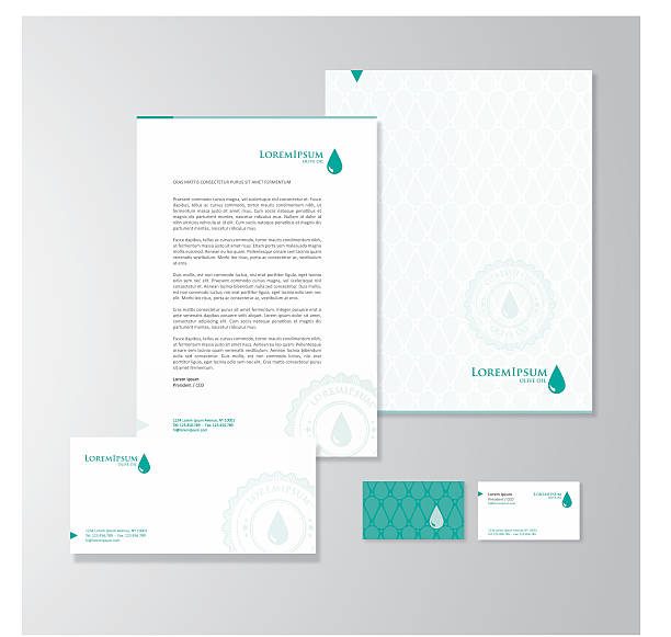 olive oil company stationery design - business cards templates stock illustrations