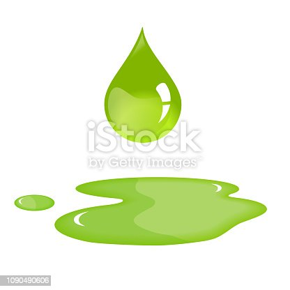 Olive oil drop and spill.