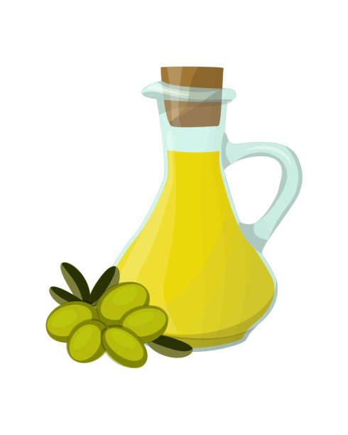 ilustrações de stock, clip art, desenhos animados e ícones de olive oil, glass jug, green olive fruits - mediterranean food