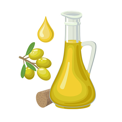 Olive oil in glass bottle and olives on branch isolated on white background - vector illustration.