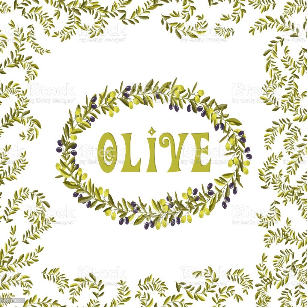 Olive oil label green illustration vector element vector art illustration