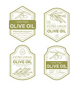 Olive Oil Label Set. Design templates for packaging oil. Vector illustration