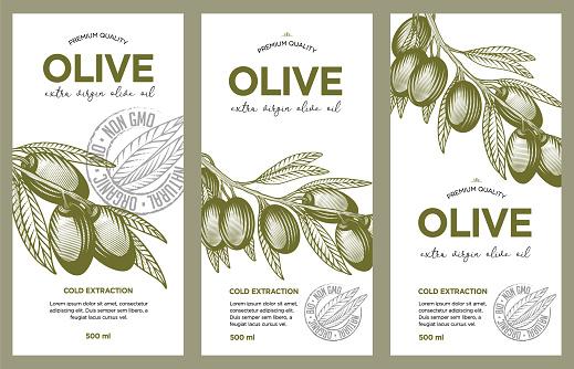 Olive oil label set.
