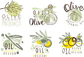 Olive Oil Labels and emblems Design Vector Set. Organic Natural Badge Collection
