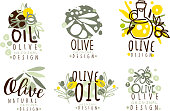 Olive Oil Labels and Logos Design Vector Set. Organic Natural Badge Collection