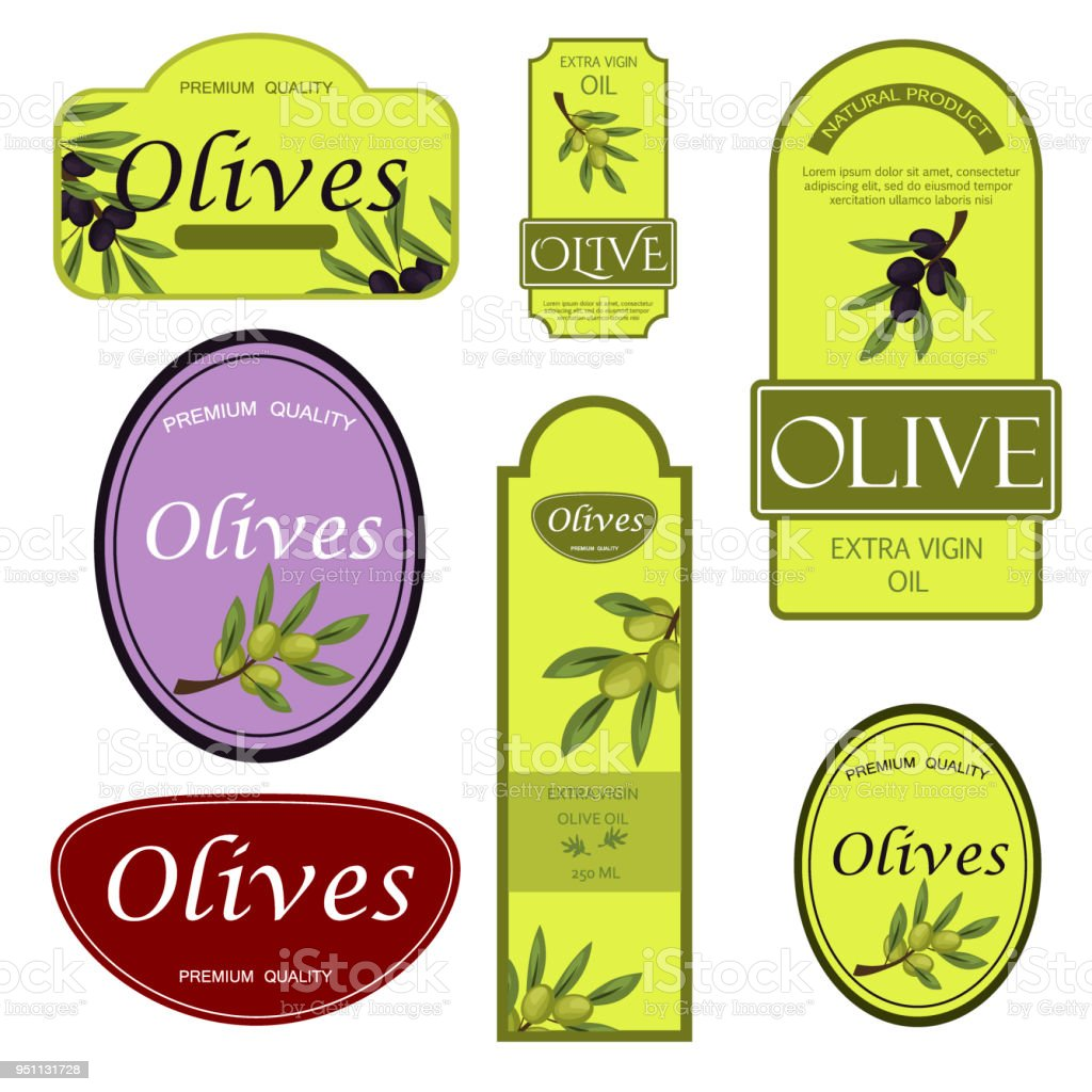 Olive Oil Labels Vector Illustration Green Organic Food Templates ...