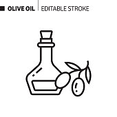 istock Olive Oil Line Icon, Outline Vector Symbol Illustration. Pixel Perfect, Editable Stroke. 1190442188
