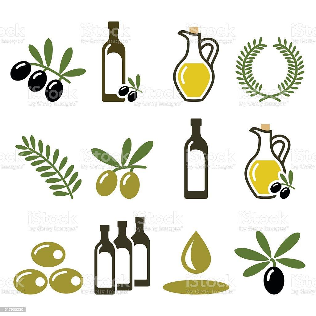 Azeite, conjunto de ícones de ramo de oliveira - ilustração de arte vetorial