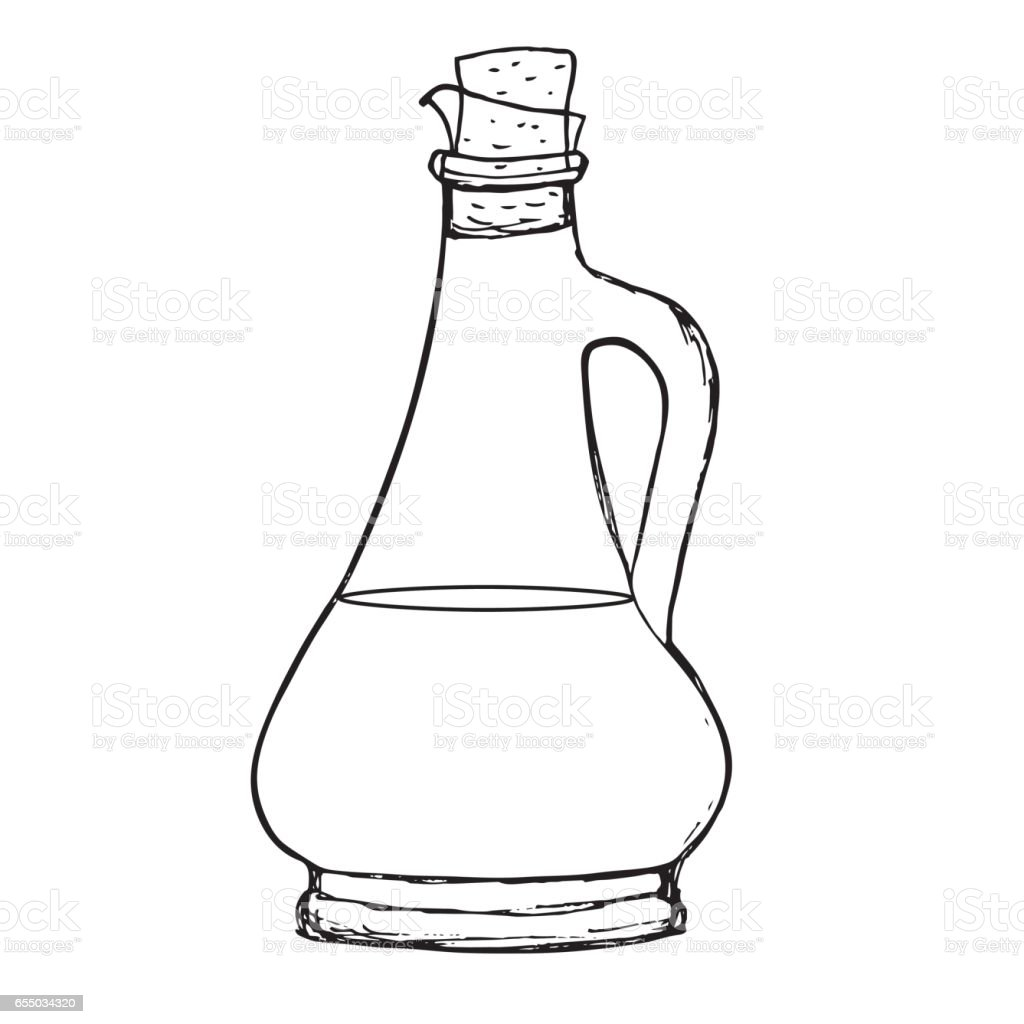 Olive oil or balsamic vinegar sauce bottle. Hand drawn line art vector art illustration