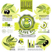 Olive oil vector infographics. Graphs and diagram elements of olives growing, oil production and consumption, virgin sort consumer market analysis, green and black olives nutrition facts
