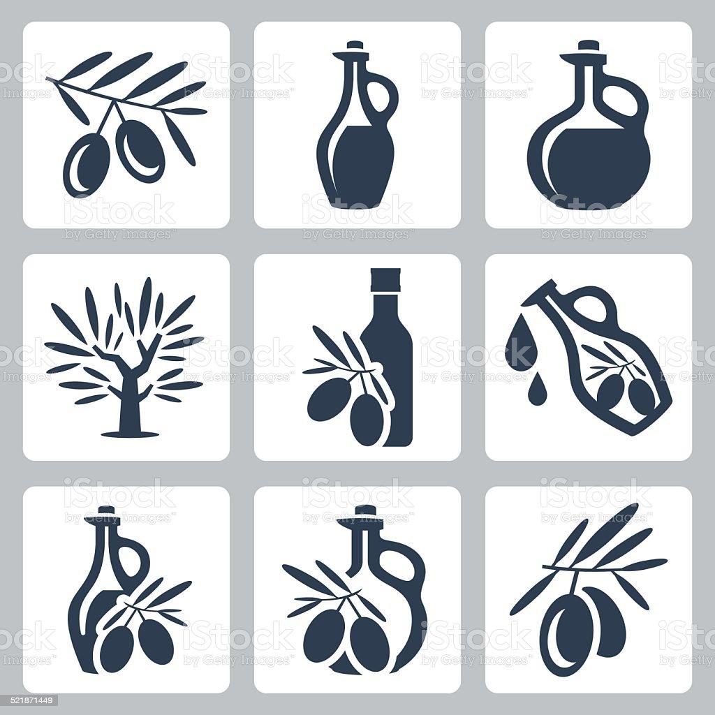 Azeite de oliveira vector com conjunto de ícones - ilustração de arte vetorial