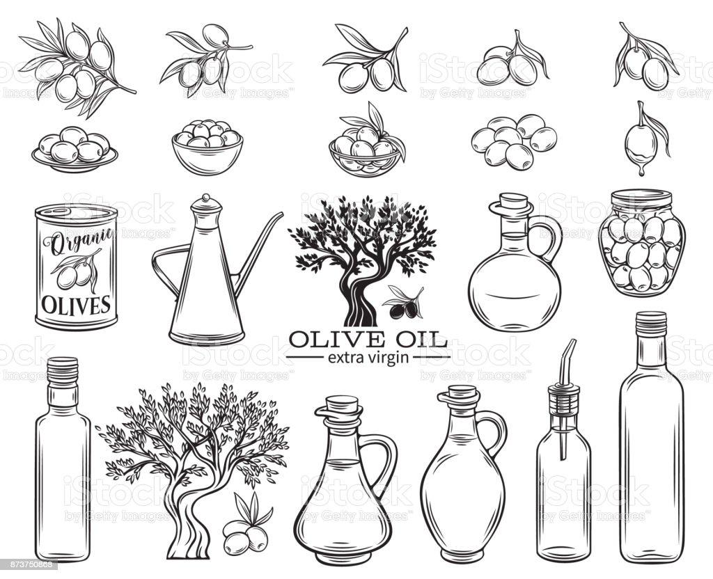 olive oil set - ilustração de arte vetorial