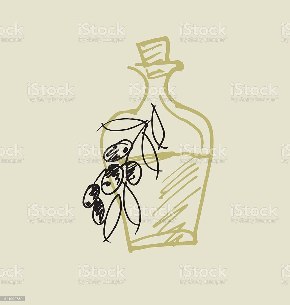 olive oil simple icon. food hand drawn sketch vector illustrati vector art illustration