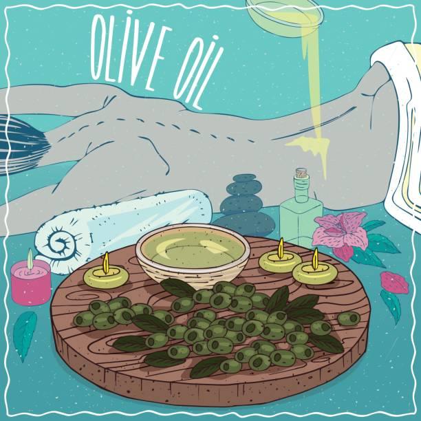 illustrazioni stock, clip art, cartoni animati e icone di tendenza di olive oil used for body massage - china drug