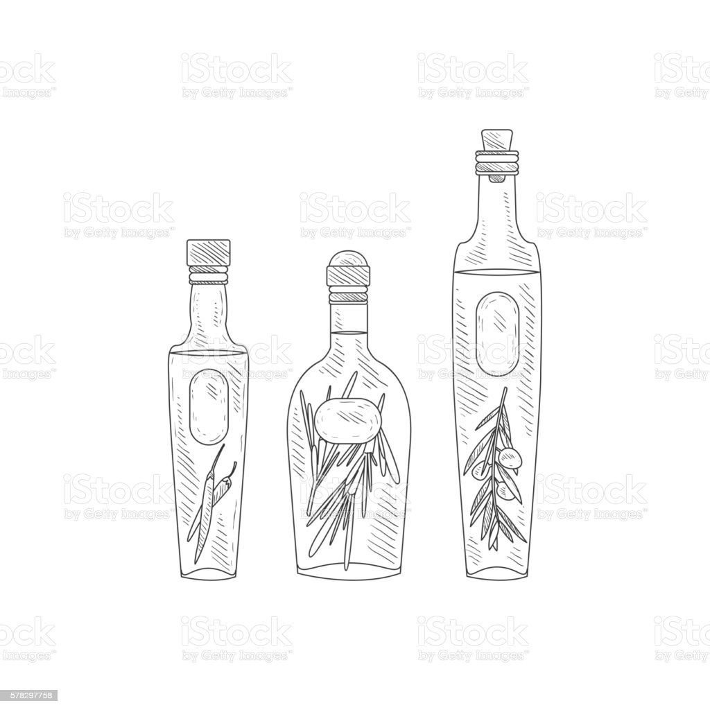 Olive Oil With Herbs Assortment Hand Drawn Realistic Sketch Stock