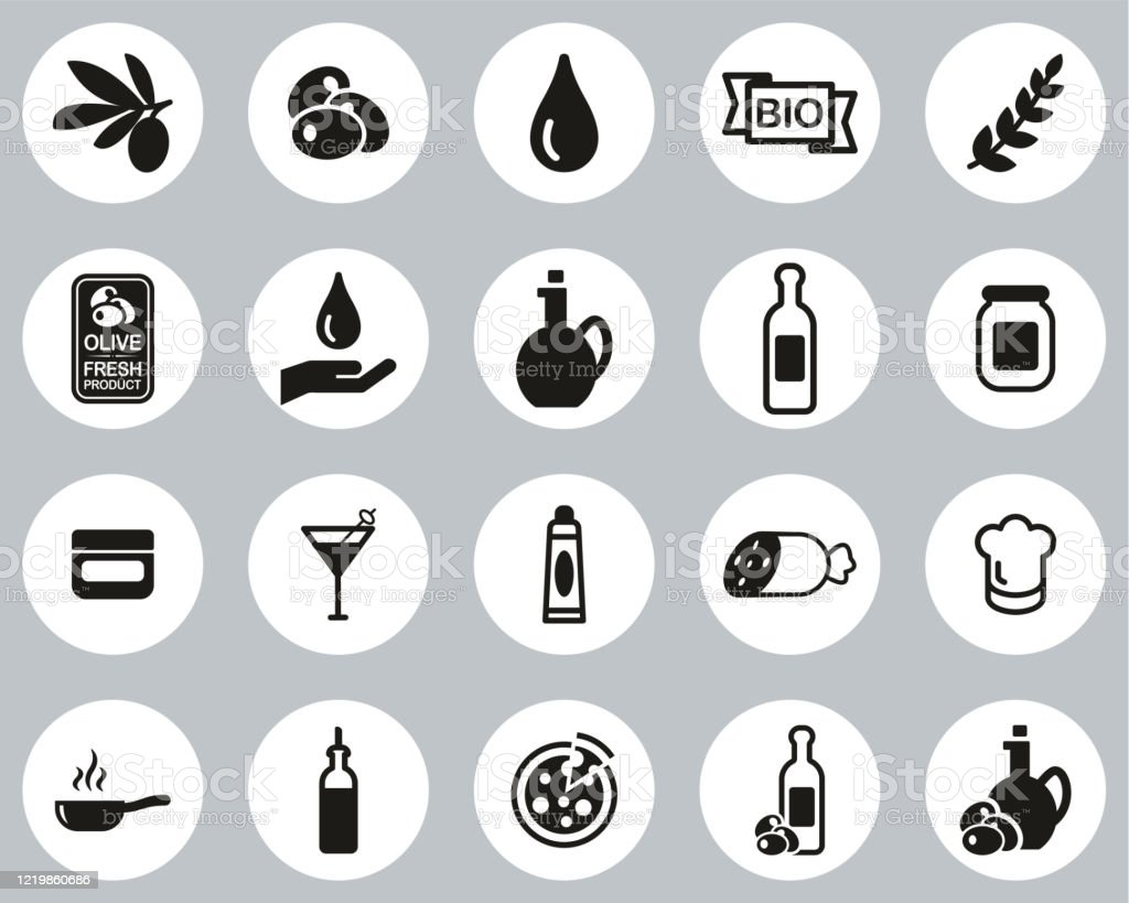 Olive & Olive Oil Icons Black & White Flat Design Circle Set Big - arte vettoriale royalty-free di Accudire