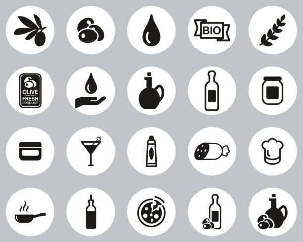 illustrazioni stock, clip art, cartoni animati e icone di tendenza di olive & olive oil icons black & white flat design circle set big - mortadella