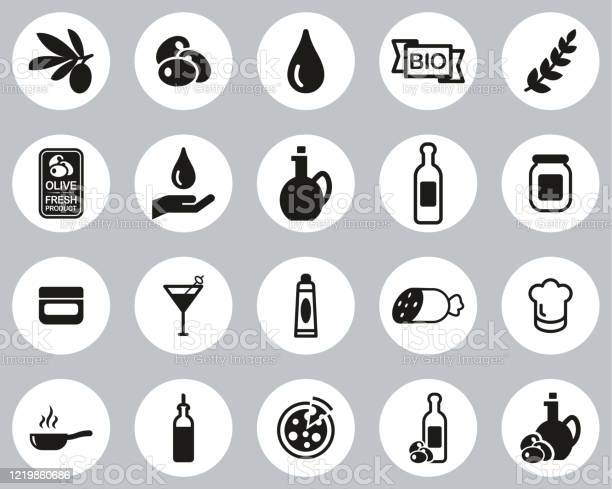 Olive Olive Oil Icons Black White Flat Design Circle Set Big - Immagini vettoriali stock e altre immagini di Accudire