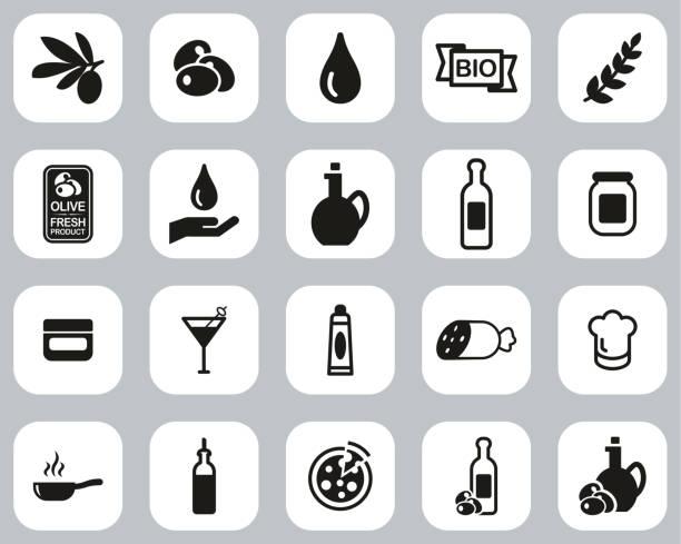 illustrazioni stock, clip art, cartoni animati e icone di tendenza di olive & olive oil icons black & white flat design set big - mortadella