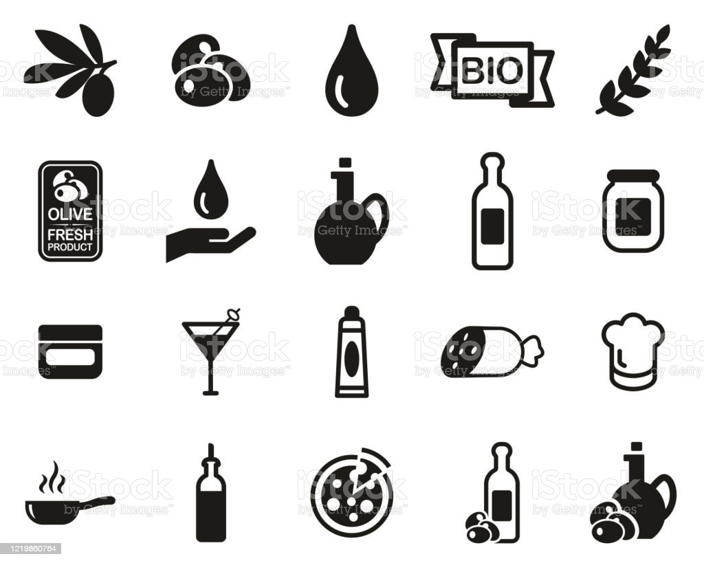 Olive & Olive Oil Icons Black & White Set Big - arte vettoriale royalty-free di Accudire