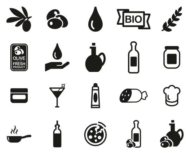 illustrazioni stock, clip art, cartoni animati e icone di tendenza di olive & olive oil icons black & white set big - mortadella