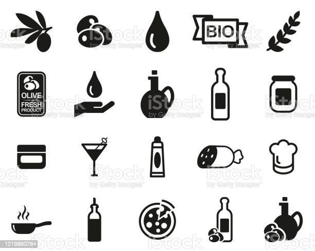Olive Olive Oil Icons Black White Set Big - Immagini vettoriali stock e altre immagini di Accudire