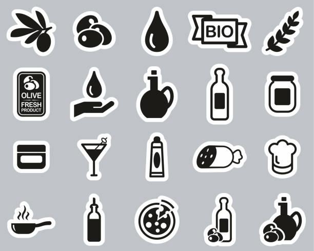 illustrazioni stock, clip art, cartoni animati e icone di tendenza di olive & olive oil icons black & white sticker set big - mortadella