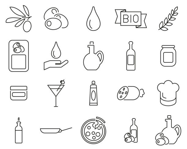 illustrazioni stock, clip art, cartoni animati e icone di tendenza di olive & olive oil icons black & white thin line set big - mortadella