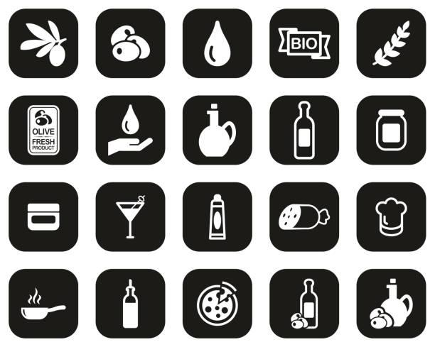 illustrazioni stock, clip art, cartoni animati e icone di tendenza di olive & olive oil icons white on black flat design set big - mortadella