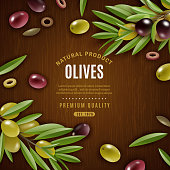 Natural olives background with olives and leaves on wooden background cartoon vector illustration
