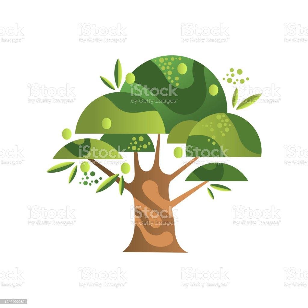 Olivier Plante De Jardin Avec Des Fruits Mûrs Vector Illustration ...
