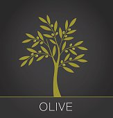 Olive tree label on dark background. Vector illustration