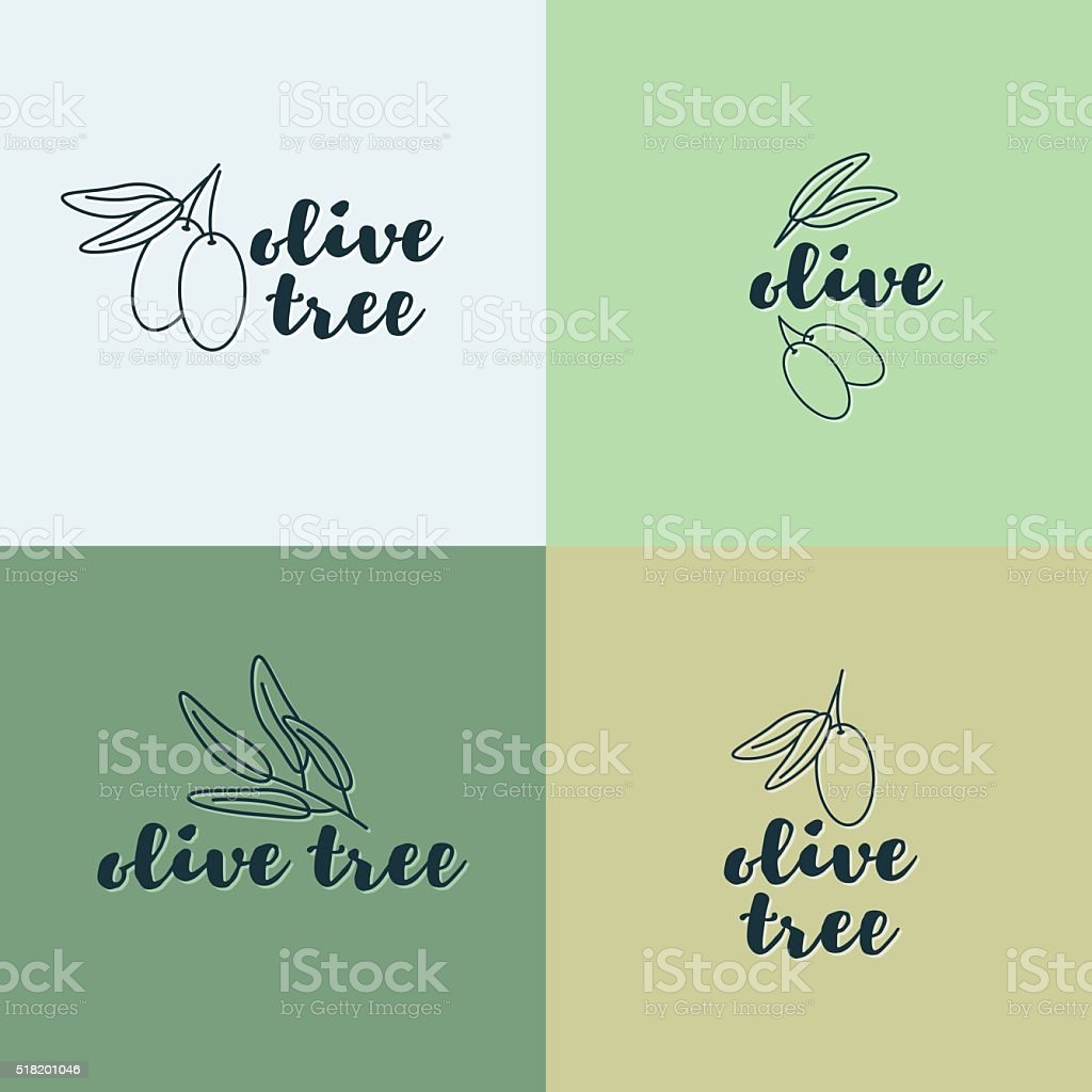 Olive Tree Logo Set Vector Corporate Identity Design Stock Vector ...