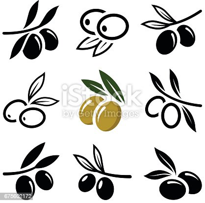 Olive icon collection - vector outline and silhouette