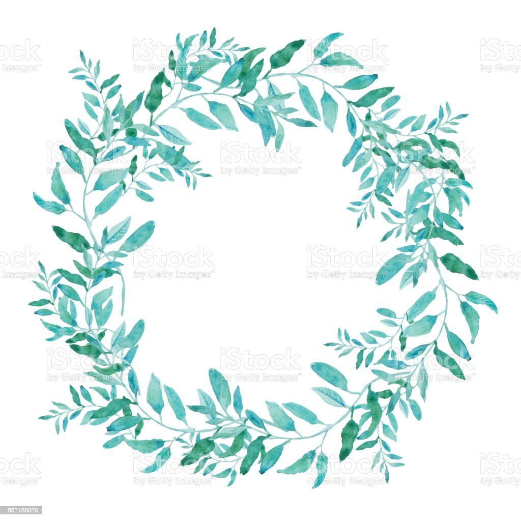 Olive wreath isolated on white background. vector art illustration