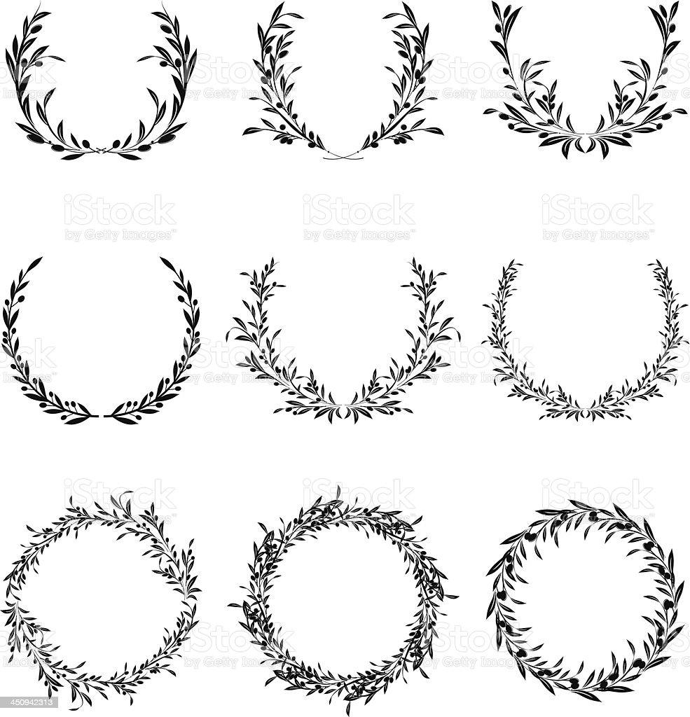 Olive Wreath Set vector art illustration
