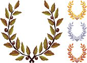 Olive wreath natural, gold, silver and copper
