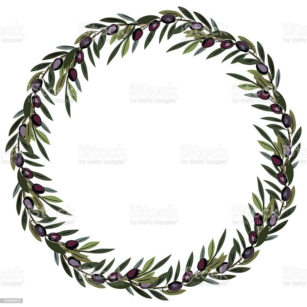 Olive Wreath vector art illustration
