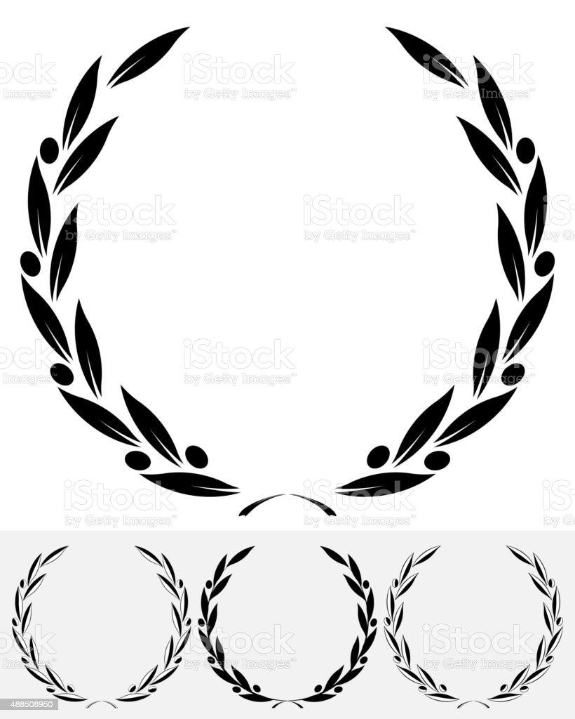 Olive Wreaths Silhouette vector art illustration