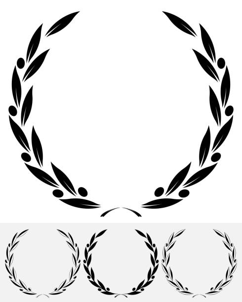 Olive Wreaths Silhouette Set Olive Wreaths. Leaves and Branches Round Frames olive branch stock illustrations