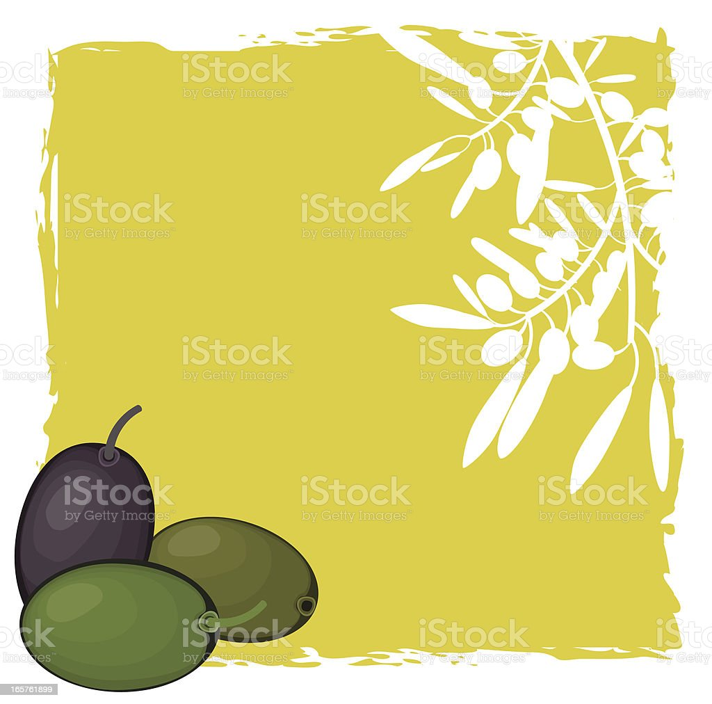 Olives And Olive Branch White Silhouette On green Background vector art illustration