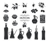 Olives and olive oil glyph icons set. Isolated tree branches, glass bottle, jug , metal dispenser with oil. Retro style, vector illustration.